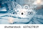 protect cloud information data... | Shutterstock . vector #637627819