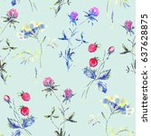 watercolor floral spring summer ... | Shutterstock . vector #637628875