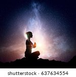yoga as physical and spiritual... | Shutterstock . vector #637634554