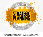 strategic planning circle word... | Shutterstock .eps vector #637636891