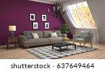 interior living room. 3d... | Shutterstock . vector #637649464