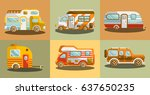 camper vans for travelling... | Shutterstock .eps vector #637650235
