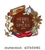 colored spice and herb store... | Shutterstock .eps vector #637653481