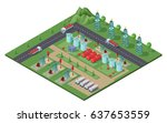 isometric industrial oil field... | Shutterstock .eps vector #637653559