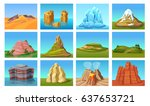 cartoon mountain landscapes set ... | Shutterstock .eps vector #637653721