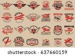 set of airplane training center ... | Shutterstock .eps vector #637660159