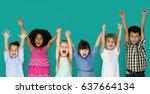 little children hands up happy   Shutterstock . vector #637664134