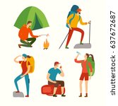 cartoon travelers set with... | Shutterstock .eps vector #637672687