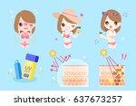 cute cartoon woman with bikini... | Shutterstock .eps vector #637673257