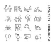 set of kindergarten related... | Shutterstock .eps vector #637675297