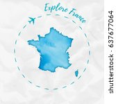 france watercolor map in... | Shutterstock .eps vector #637677064