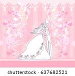 wedding dancing couple...   Shutterstock . vector #637682521