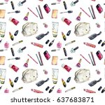 seamless pattern. cosmetics....   Shutterstock . vector #637683871