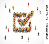 large group of people stands in ... | Shutterstock .eps vector #637685905