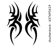 tribal tattoo art designs.... | Shutterstock .eps vector #637695619