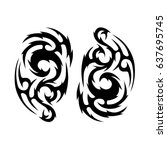 tribal tattoo art designs.... | Shutterstock .eps vector #637695745