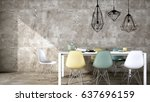 interior design dinning or... | Shutterstock . vector #637696159