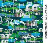 seamless pattern renewable... | Shutterstock .eps vector #637696465