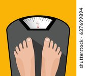 vector feet on the scale.... | Shutterstock .eps vector #637699894
