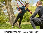 woman sling training with... | Shutterstock . vector #637701289