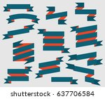 set retro ribbons vector | Shutterstock .eps vector #637706584