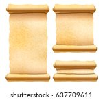 set of old textured papyrus... | Shutterstock .eps vector #637709611