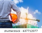 engineer holding yellow safety... | Shutterstock . vector #637712077