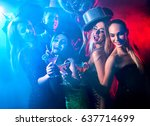 dance party with group people... | Shutterstock . vector #637714699
