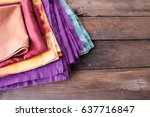 Colorful Napkin On A Wooden...
