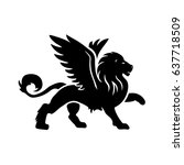 winged lion. vector... | Shutterstock .eps vector #637718509
