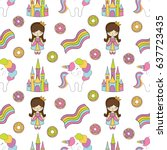 seamless baby pattern with cute ... | Shutterstock .eps vector #637723435
