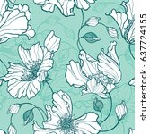 seamless pattern with flowers... | Shutterstock .eps vector #637724155