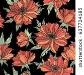 seamless pattern with flowers... | Shutterstock .eps vector #637724185