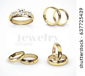 4 vector gold wedding rings | Shutterstock .eps vector #637725439