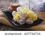 grilled sweet potato and taro... | Shutterstock . vector #637726714