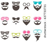 set of colorful sunglasses ... | Shutterstock .eps vector #637733731