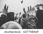 rally goers reach out to catch... | Shutterstock . vector #637748569