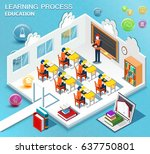 pupils study in the classroom.... | Shutterstock .eps vector #637750801