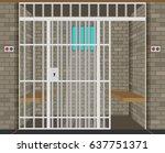 scene with prison room. flat... | Shutterstock .eps vector #637751371