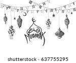 eid mubarak background with... | Shutterstock .eps vector #637755295