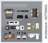 set top view for interior... | Shutterstock .eps vector #637756021