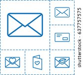 envelope icon. set of 6... | Shutterstock .eps vector #637757575