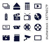 video icons set. set of 16... | Shutterstock .eps vector #637760179