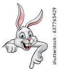 a cartoon white easter bunny or ... | Shutterstock . vector #637765429