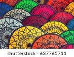 traditional burmese umbrellas.... | Shutterstock . vector #637765711