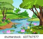 landscape  a peaceful river  a... | Shutterstock . vector #637767577
