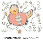 cute cartoon chicken and...   Shutterstock .eps vector #637778374