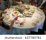 eating chinese food on the... | Shutterstock . vector #637785781