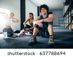 three friends enjoying break... | Shutterstock . vector #637788694