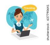travel agency banner. woman... | Shutterstock .eps vector #637790641